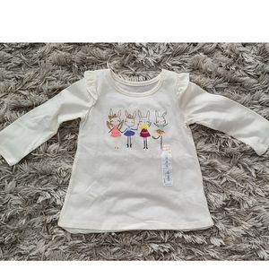 Jumping Beans Ruffle Sleeve Bunny top long sleeve